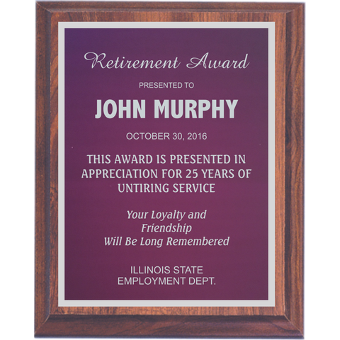 Cherry Finish Plaque with Purple Aluminum Plate and Silver Shadow Plates