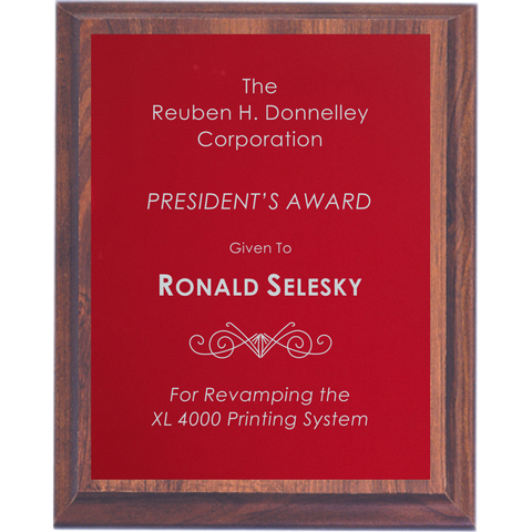 Cherry Finish Plaque with Red Aluminum Plate