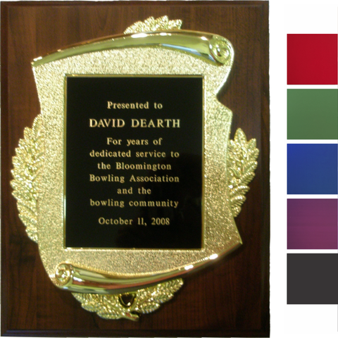 "Cherry Finish Plaque with Scroll Plaque Mount and Colored Brass Plate, 9"" x 12"", 5 Plate Colors"