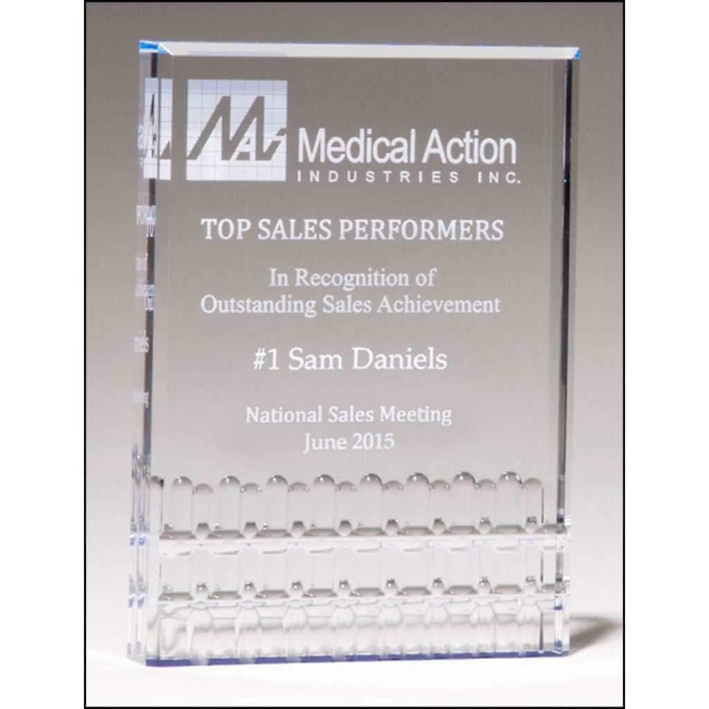 "Classic Series, 1"" thick freestanding clear acrylic with blue highlights, Sales Award"