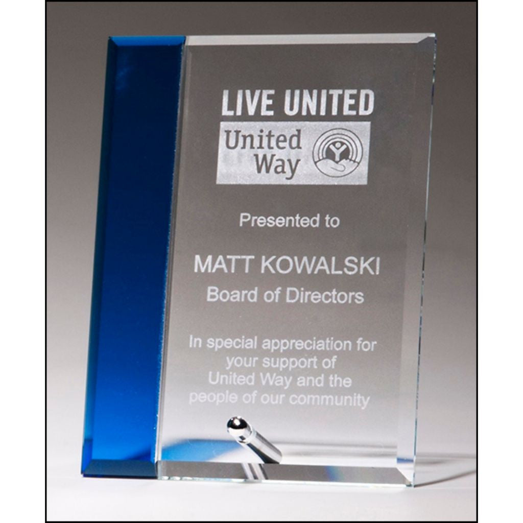 Clear glass award with sapphire blue highlight and silver plated easel post, Appreciation Award