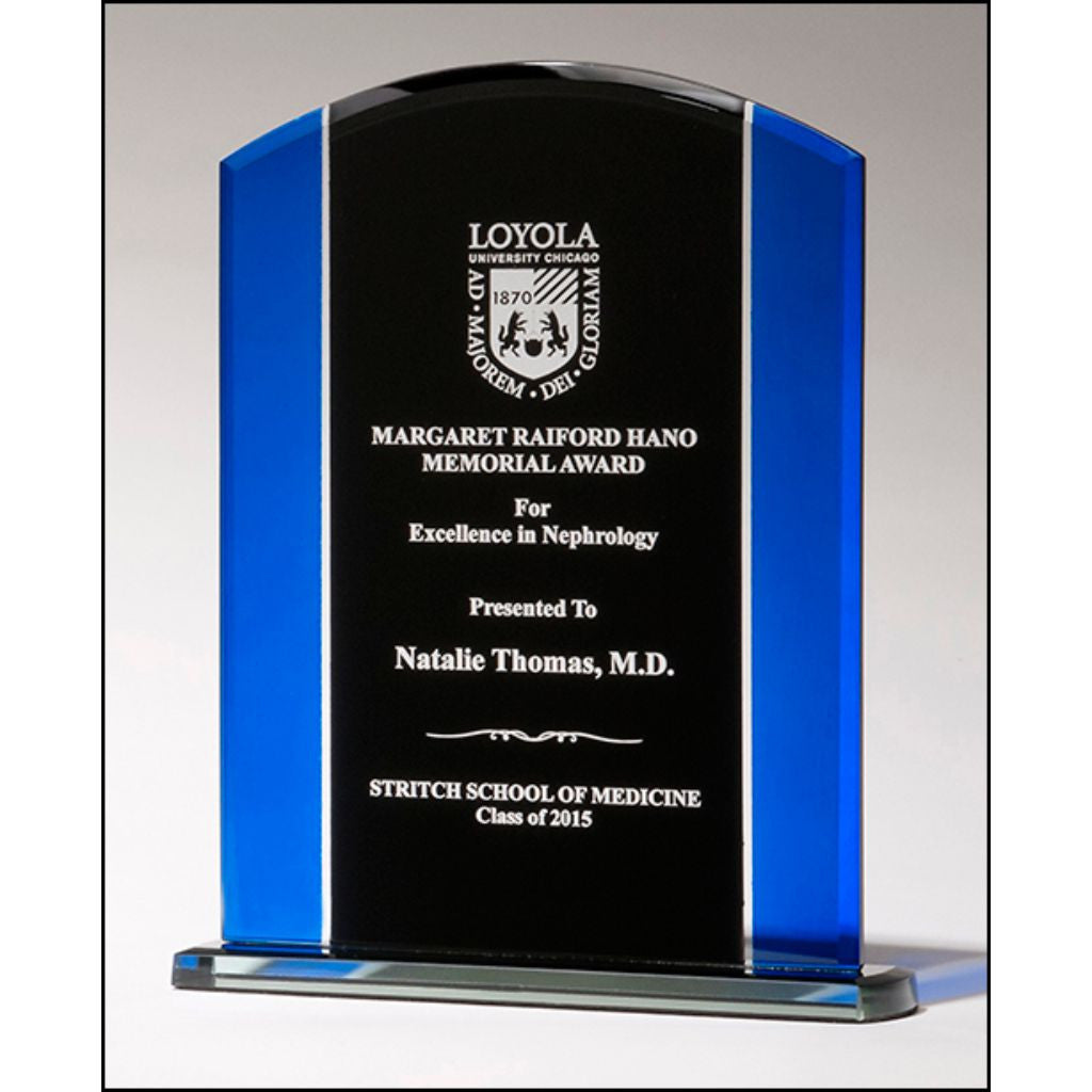 Clear glass with blue and black silk screened upright, Excellence Award
