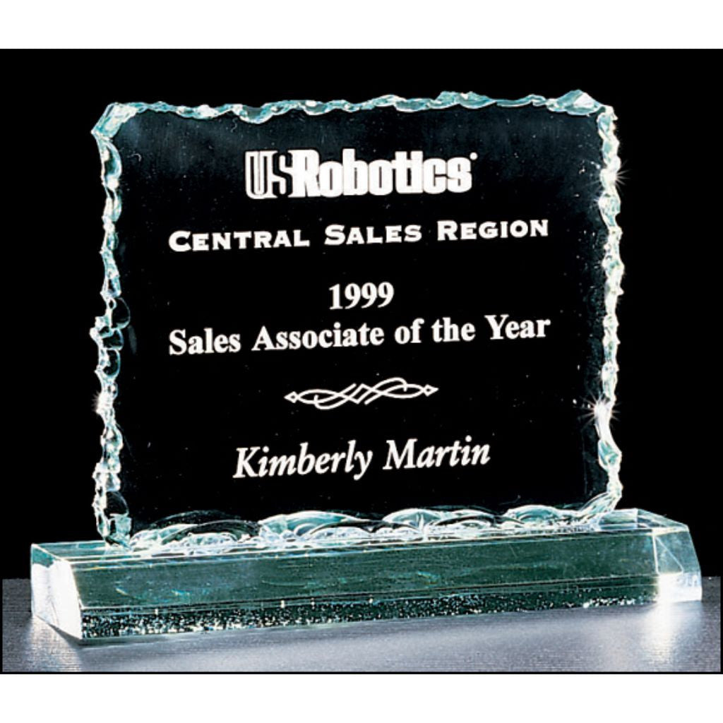 "Crushed Ice Series, 3/4"" thick acrylic award on acrylic base, Sales Award"