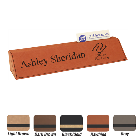 Leatherette Desk Wedge with Business Card Holder, 5 Colors