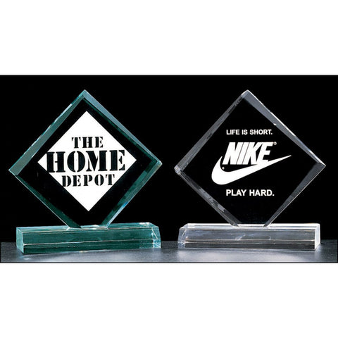 "Diamond Series, 3/4"" thick acrylic award on acrylic base, 3 Sizes, 2 Colors"