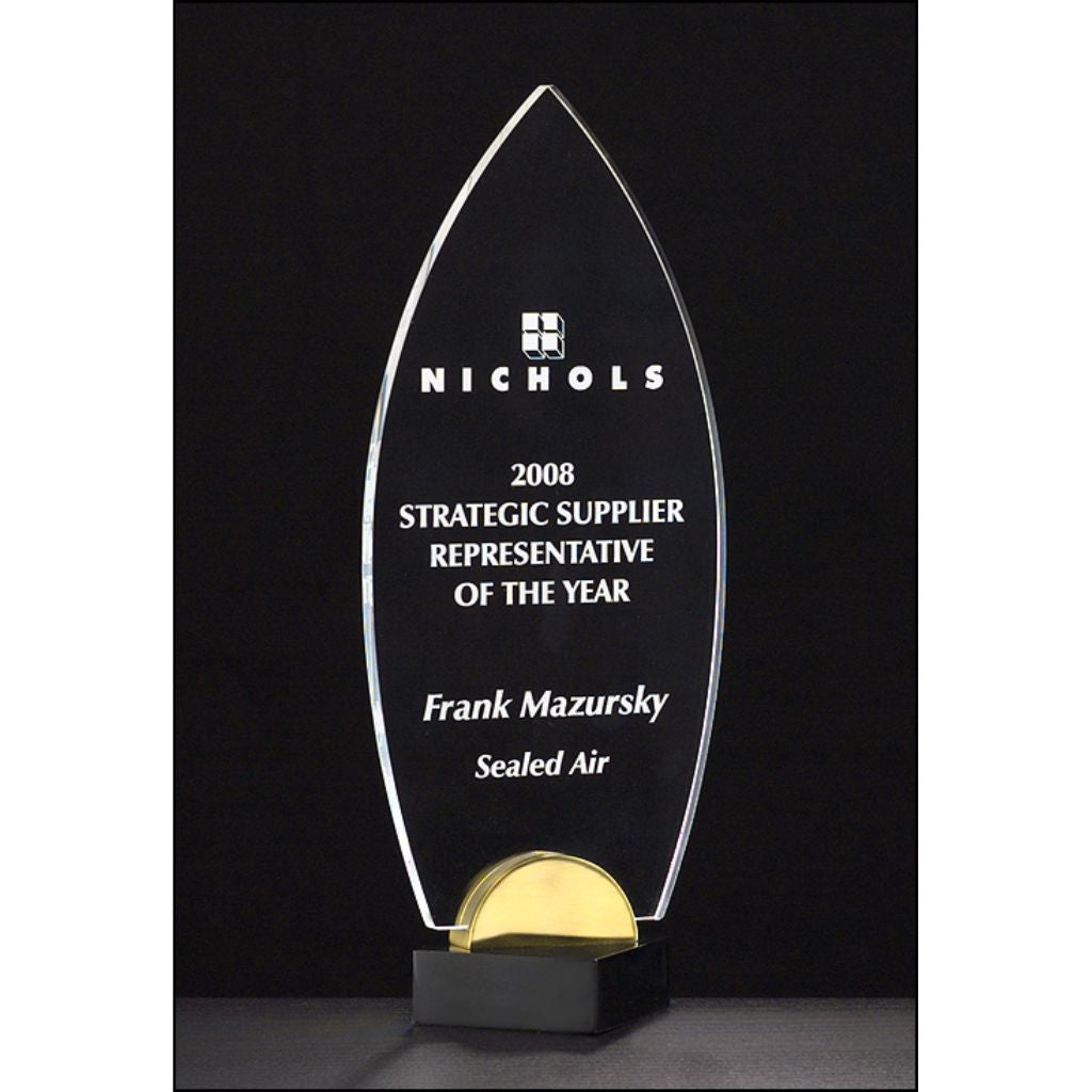 "Flame Series, 3/8"" thick acrylic award on black and gold metal base"
