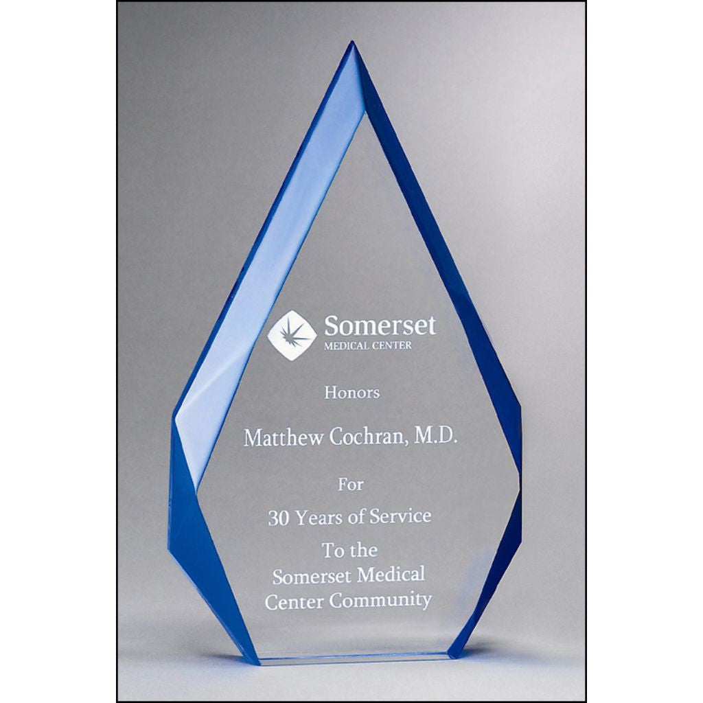 "Flame Series, 1"" thick clear acrylic with blue accented bevels, Service Award"
