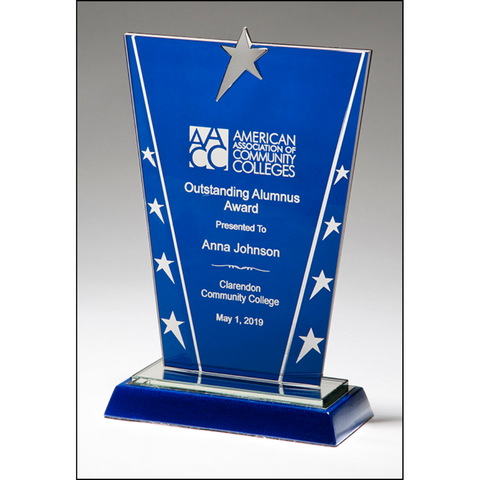 Constellation Series Glass Award with Blue Background and Chrome Plated Star, 3 Sizes