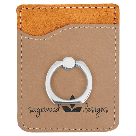 Light Brown Leatherette Phone Wallet with Ring