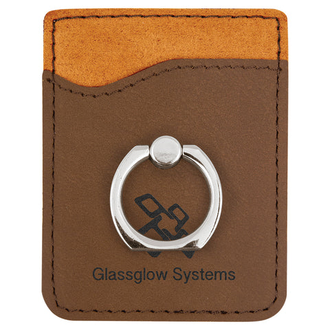 Dark Brown Leatherette Phone Wallet with Ring