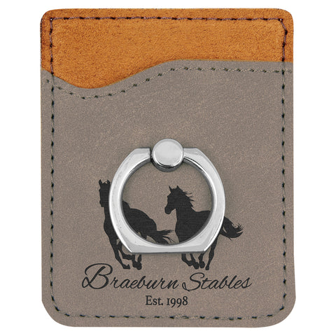 Gray Leatherette Phone Wallet with Ring