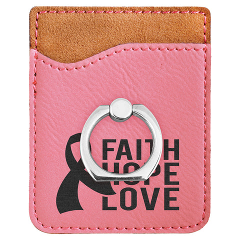 Pink Leatherette Phone Wallet with Ring
