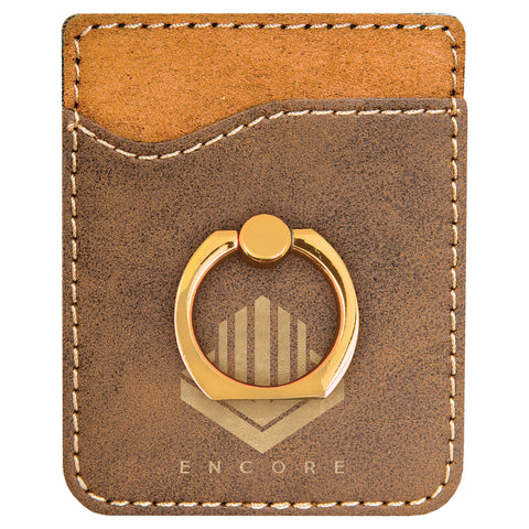 Rustic/Gold Leatherette Phone Wallet with Ring