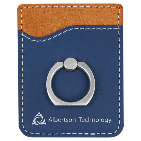 Blue/Silver Leatherette Phone Wallet with Ring