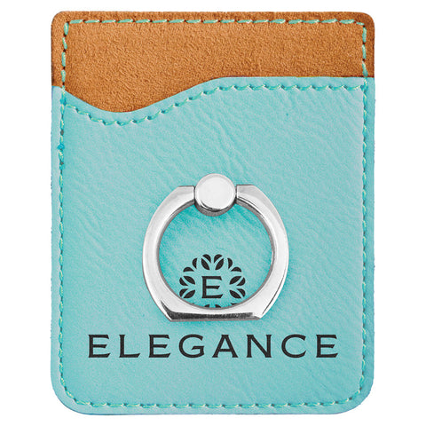 Teal Leatherette Phone Wallet with Ring