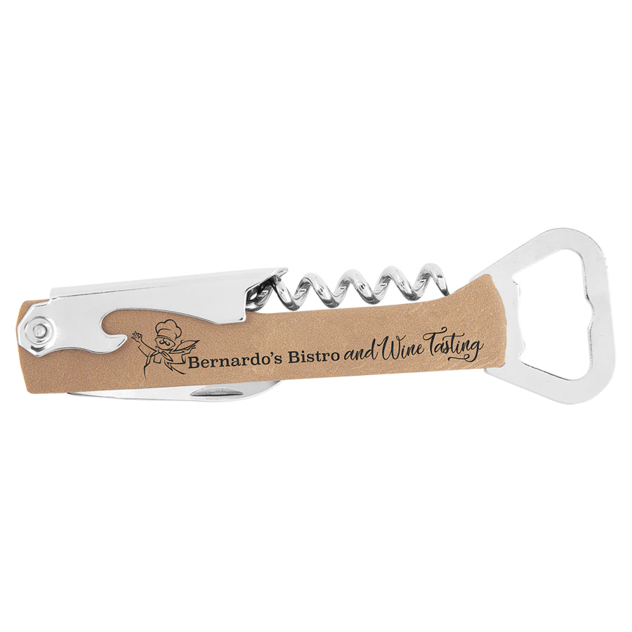 Leatherette or Cork Corkscrew Bottle Opener, 12 Colors