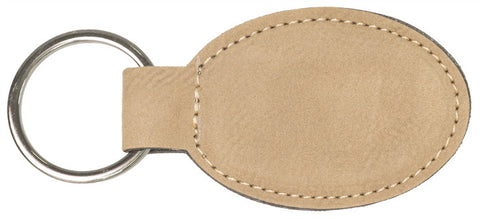 Leatherette Oval Keychain in Light Brown