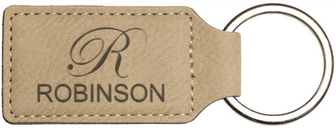 Leatherette Rectangle Keychains in Light Brown