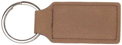 Leatherette Rectangle Keychains in Dark Brown