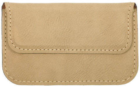 Leatherette Flexible Business Card Case in Light Brown