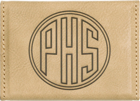 Leatherette Hard Business Card Case in Light Brown