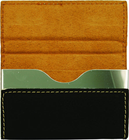 Leatherette Hard Business Card Case in Black