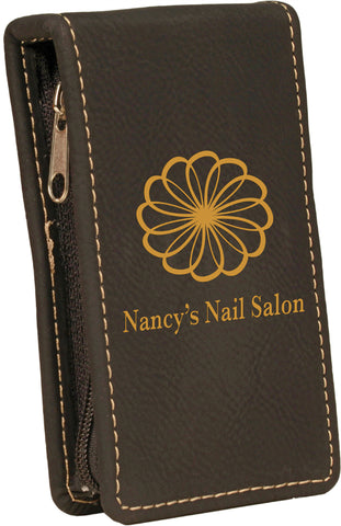Black/Gold Leatherette 7-Piece Manicure Set
