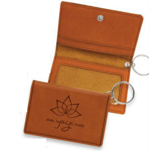 Leatherette ID Holder Keychains, 7 Colors