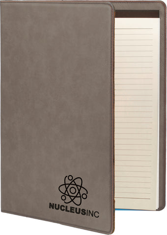Leatherette or Cork Large Portfolio with Notepad, 12 Colors