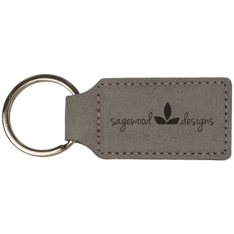 Leatherette Rectangle Keyrings, 12 Colors