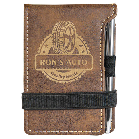 Leatherette Small Notepad and Pen