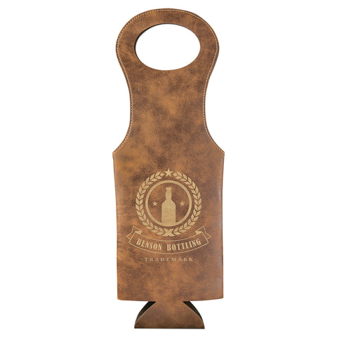 Rustic/Gold Leatherette Wine Bag