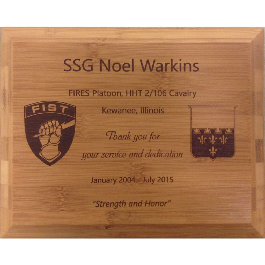 Genuine Bamboo Plaque with Laser Dark, Public Service Award