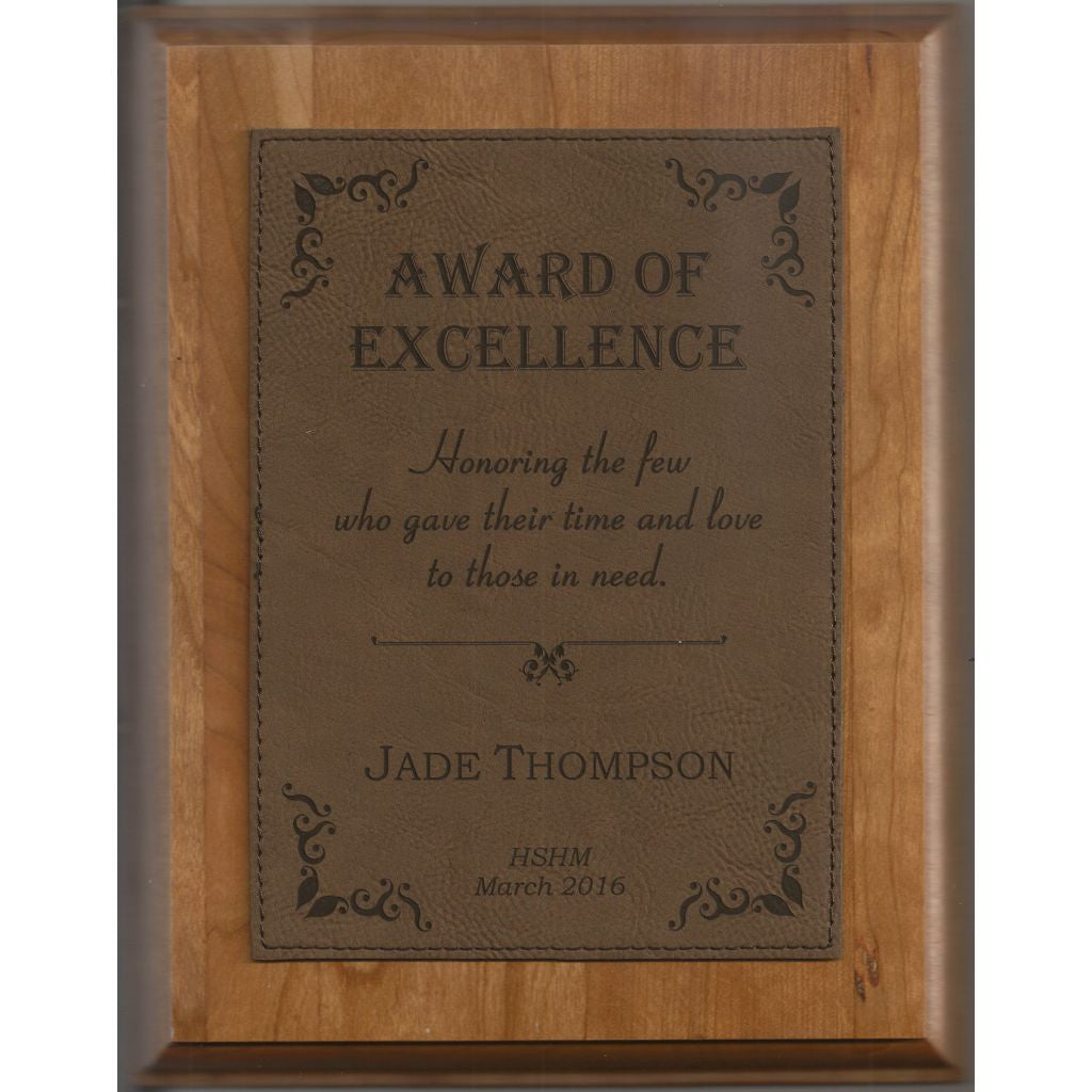 Genuine Cherry Plaque with Dark Brown Leatherette Plate, Excellence Award