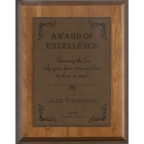 Genuine Cherry Plaque with Dark Brown Leatherette Plate, 4 Sizes