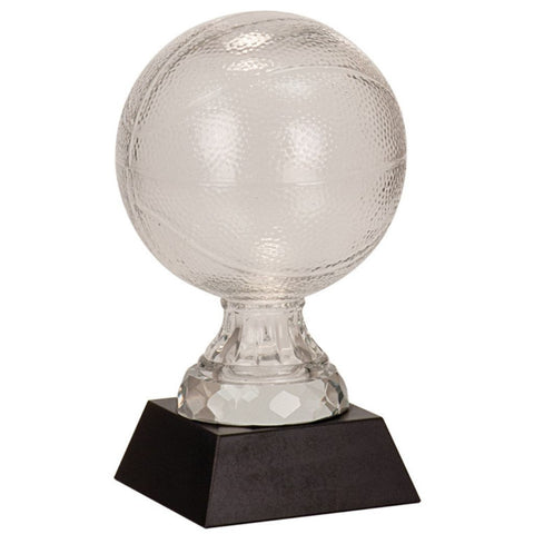 Glass Basketball with Black Marble Base, 2 Sizes