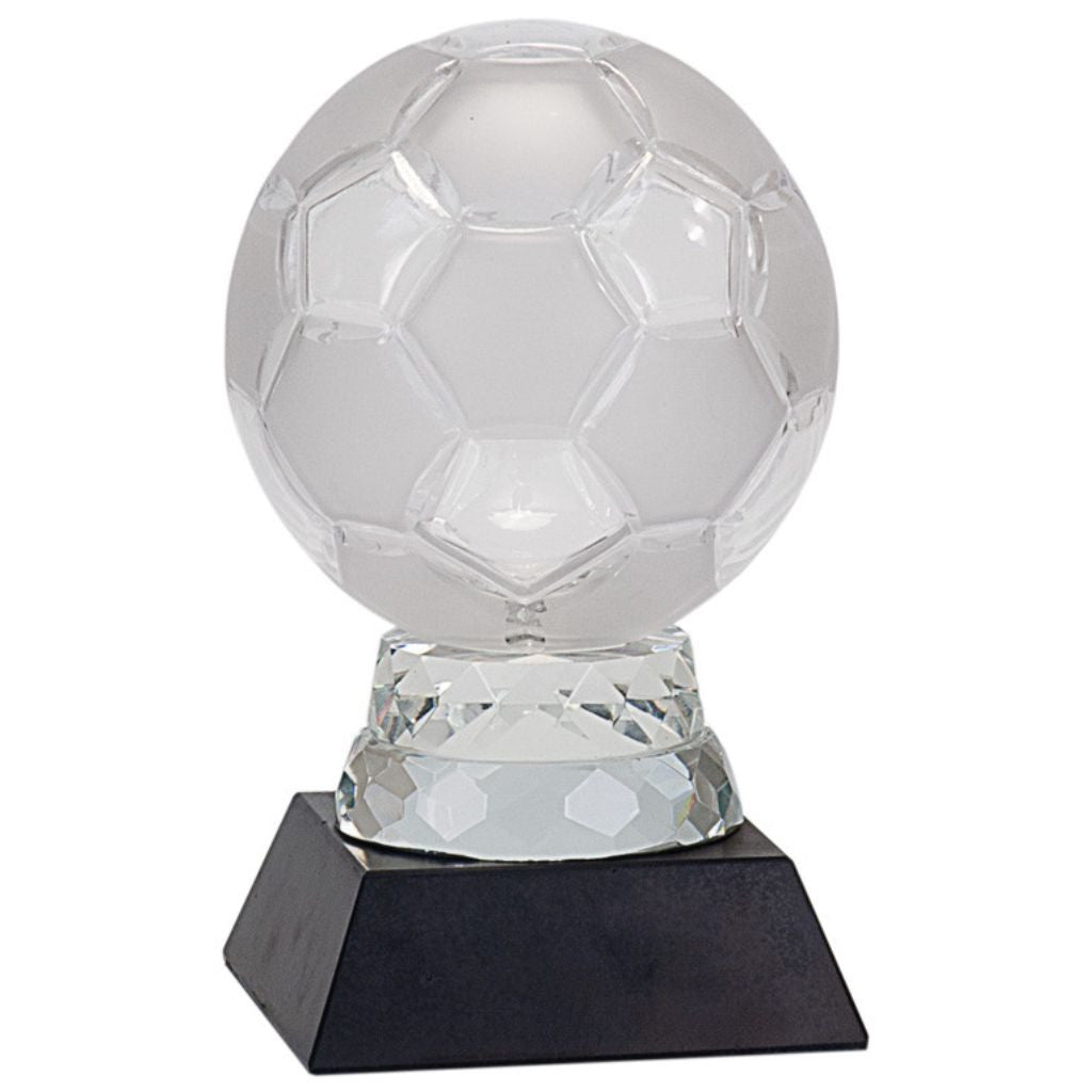 Glass Soccer Ball with Black Marble Base, 6 1/4""