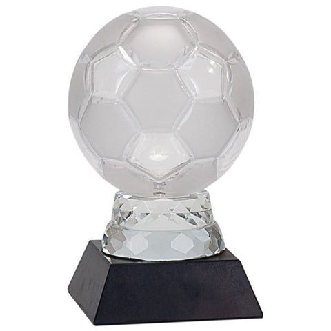 Glass Soccer Ball with Black Marble Base, 2 Sizes