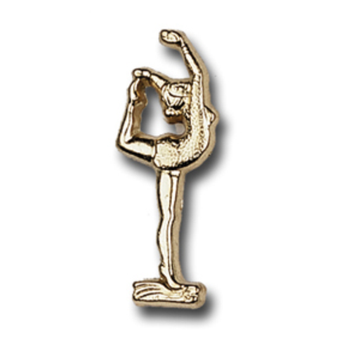 Gymnast on Foot, Female, Metal Chenille Letter Insignia with Optional Display Case, Pack of 25