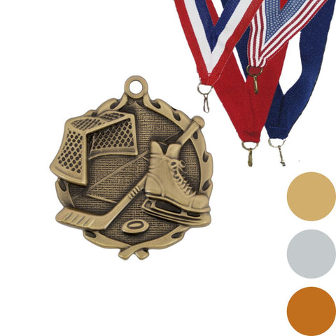 Hockey Wreath Medal, 1 3/4""