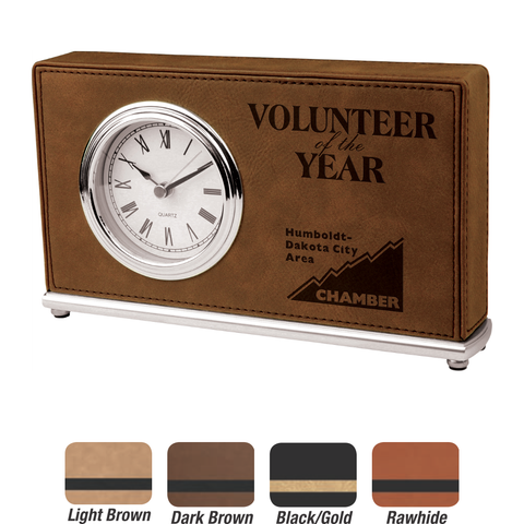 Leatherette Horizontal Desk Clock, 4 Colors