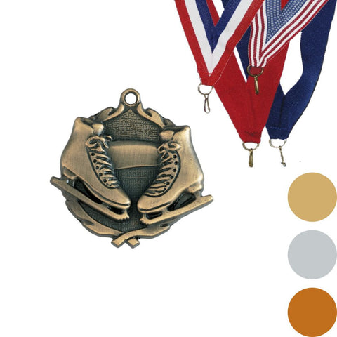 Ice Skating Wreath Medal, 1 3/4""