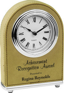 Leatherette Arch Clock in Light Brown, Achievement Award