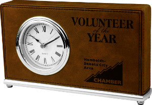 Leatherette Horizontal Desk Clock in Dark Brown, Volunteer Award