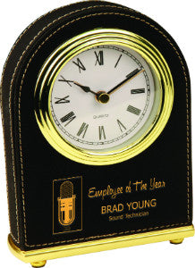 Leatherette Arch Clock in Black, Employee Award