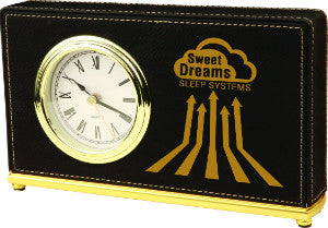 Leatherette Horizontal Desk Clock in Black
