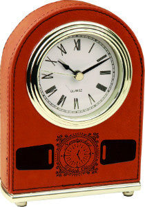 Leatherette Arch Clock in Rawhide