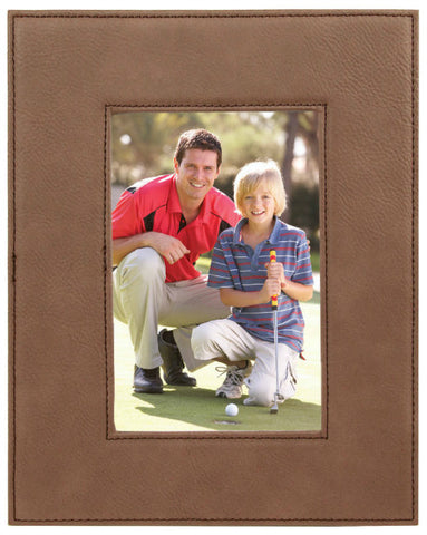 Leatherette Picture Frame in Dark Brown, 4x6