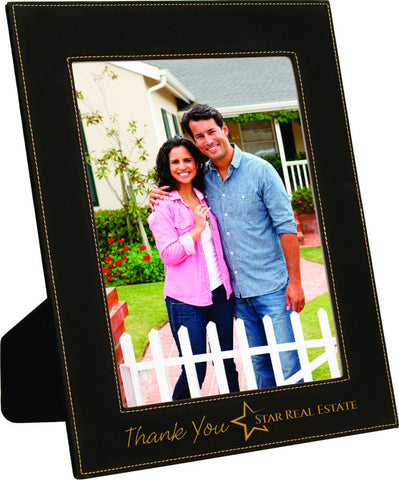 Leatherette Picture Frame in Black, 8x10