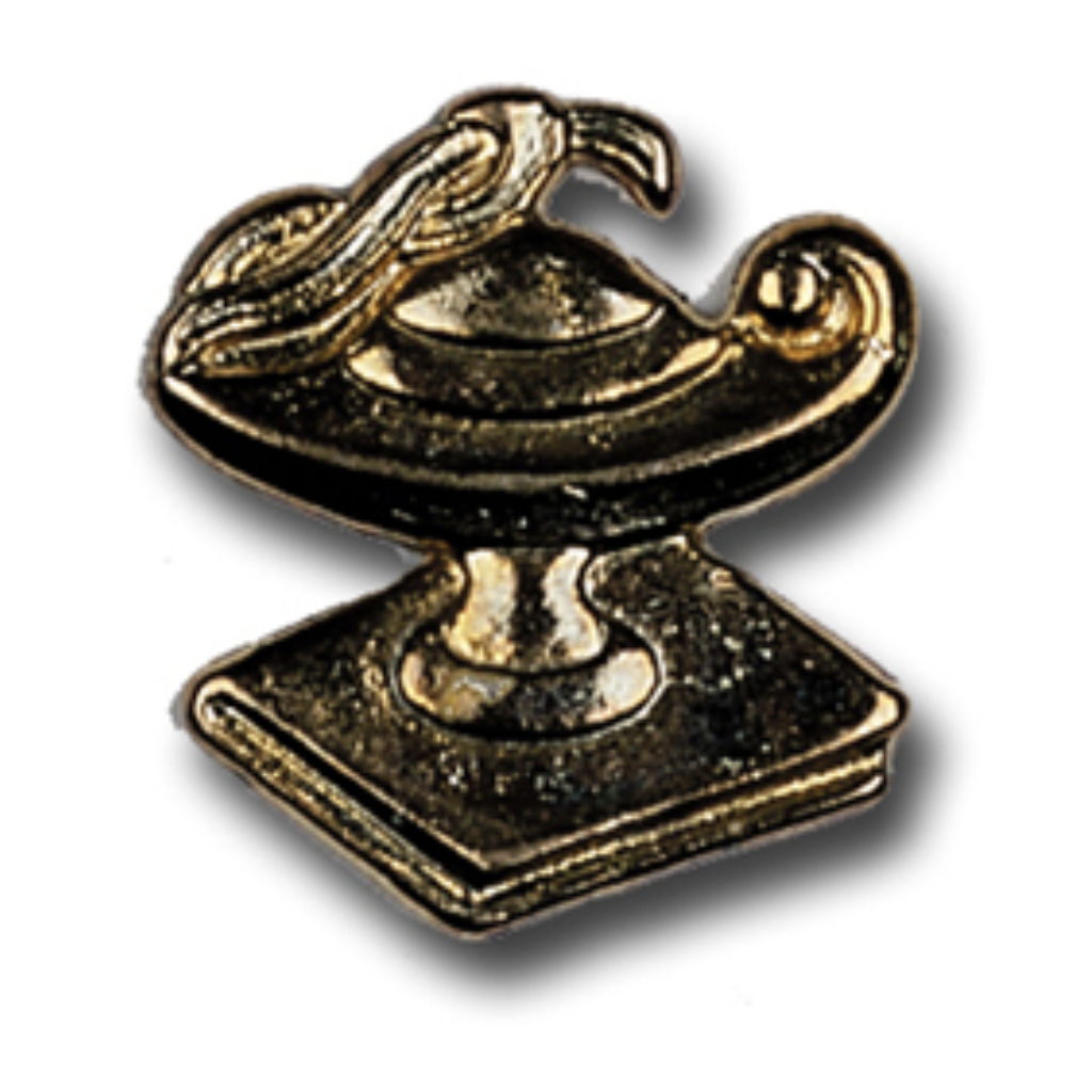 Lamp Of Knowledge On Book Metal Chenille Letter Insignia With Optional